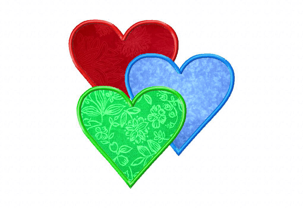 Three hearts machine embroidery design includes both applique and