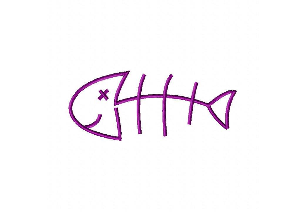Fish Bones Stitched Machine Embroidery Design