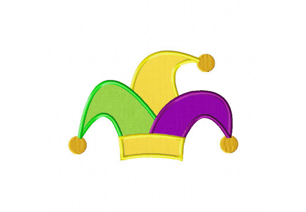 Jester Hat Machine Embroidery Design Includes Both Applique And Fill
