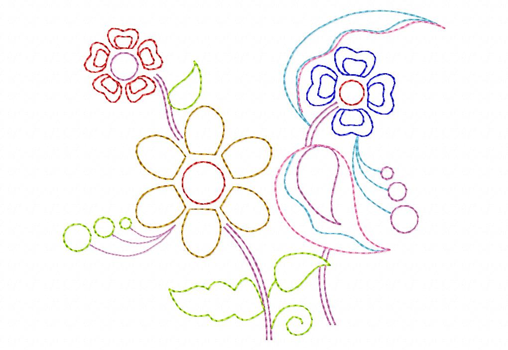 Line Garden Stitched Machine Embroidery Design Blasto Stitch