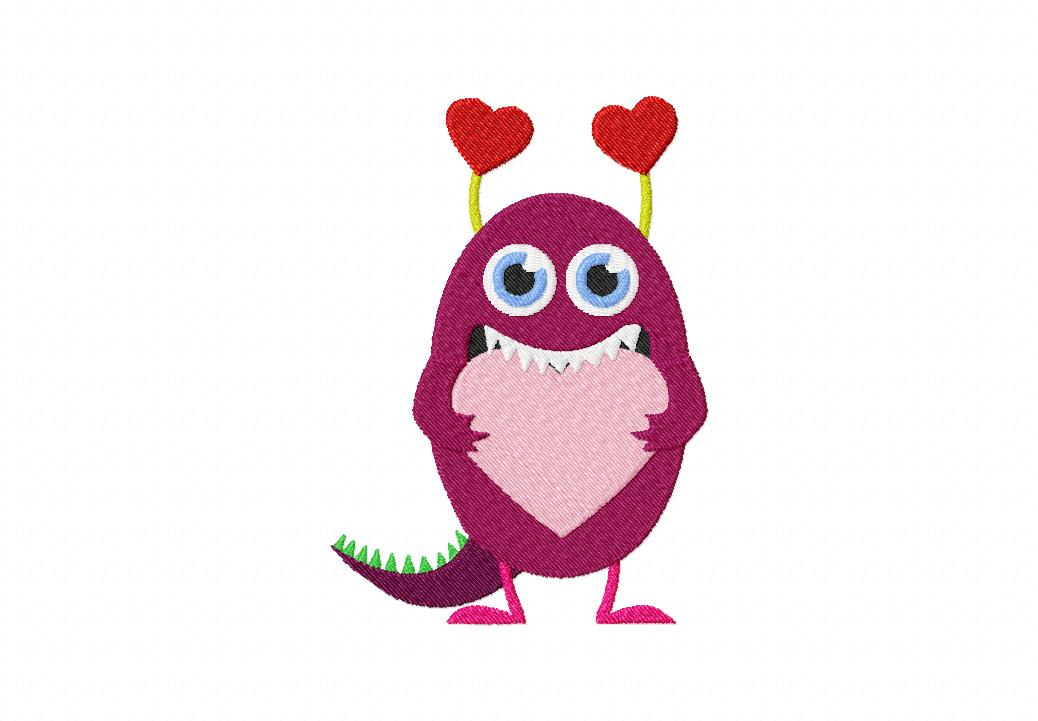 Love Monster Stitched Machine Embroidery Design