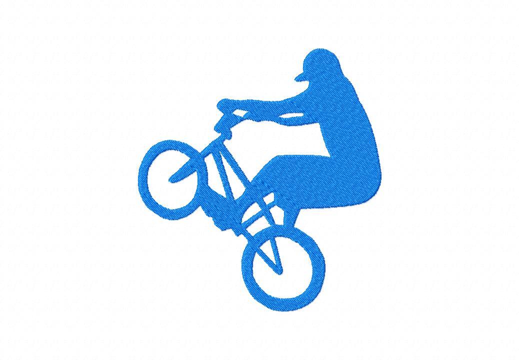 BMX Rider Silhouette Machine Applique Embroidery Design – Blasto Stitch