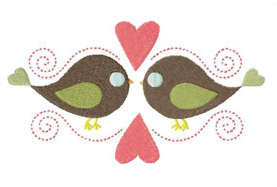 Birds In Love Stitched Machine Applique Embroidery Design Blasto