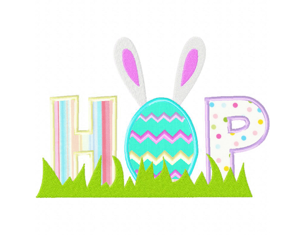 Easter Themed Hop Both Applique And Stitched Pattern Machine