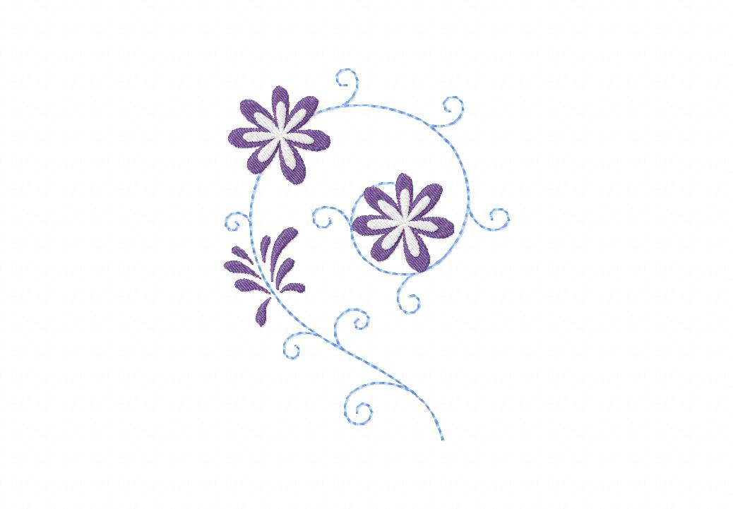Decorative Whimsy Daisy Pattern Machine Embroidery Design Blasto