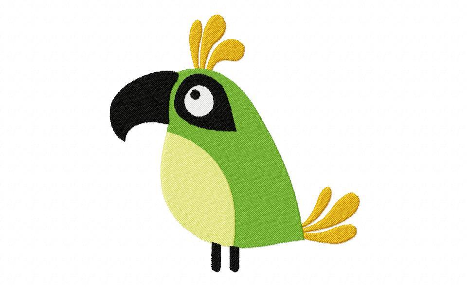 Fun Time Bird Machine Stitched Embroidery Design