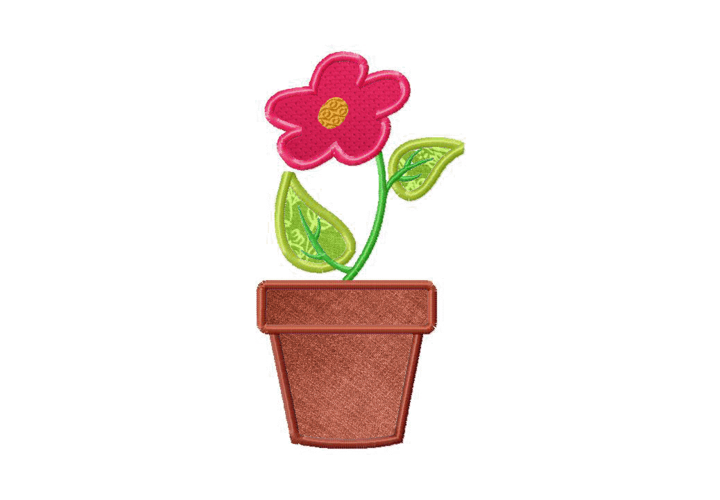 187 & Flower Pot Machine Applique and Stitched Embroidery Design