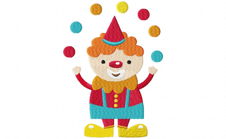 Juggling Clown Machine Embroidery Design