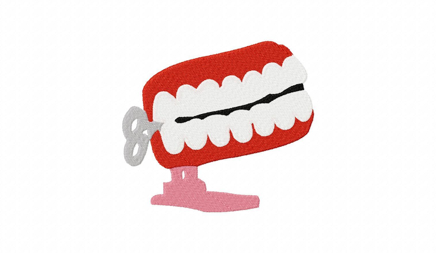 windup teeth machine embroidery design