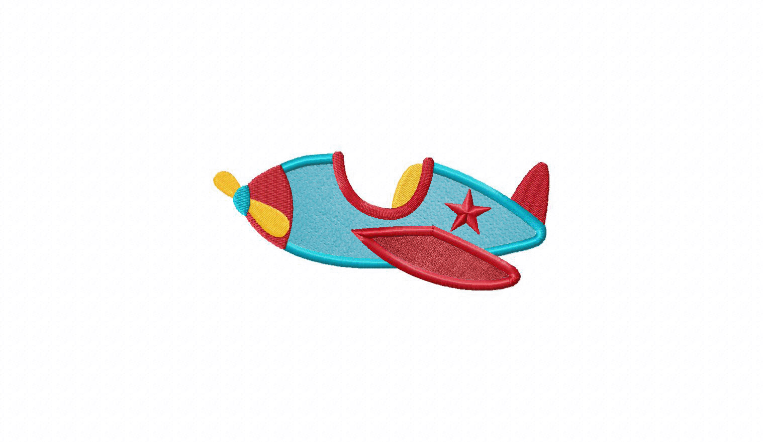 kids plane available in both applique and filled stitch