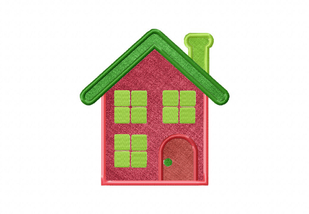 Cute house includes both applique and filled stitch u2013 blasto stitch