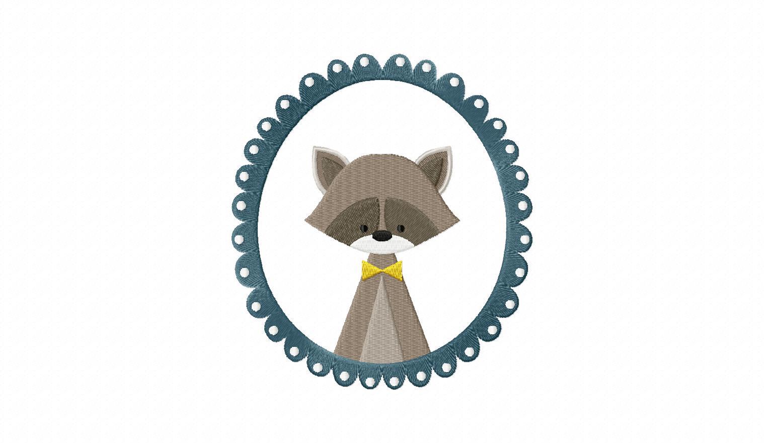 Raccoon Frame Machine Embroidery Design Blasto Stitch