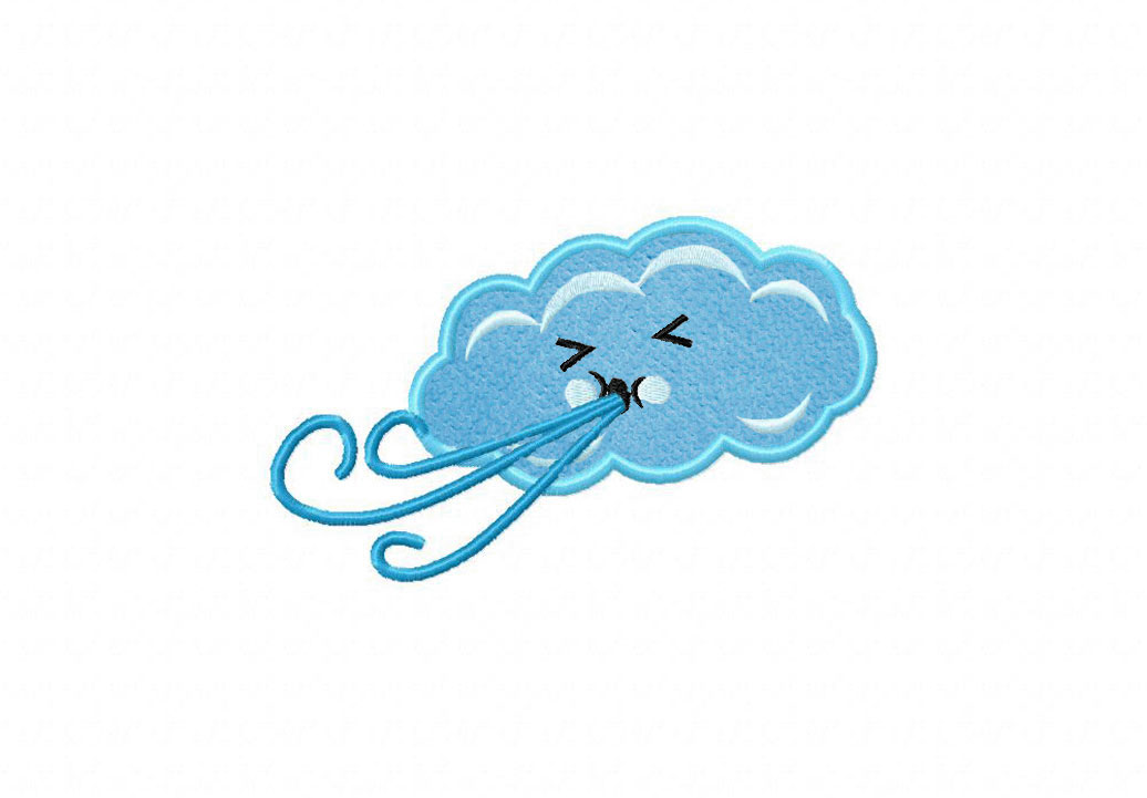 Windy Cloud Available In Both Applique And Filled Blasto