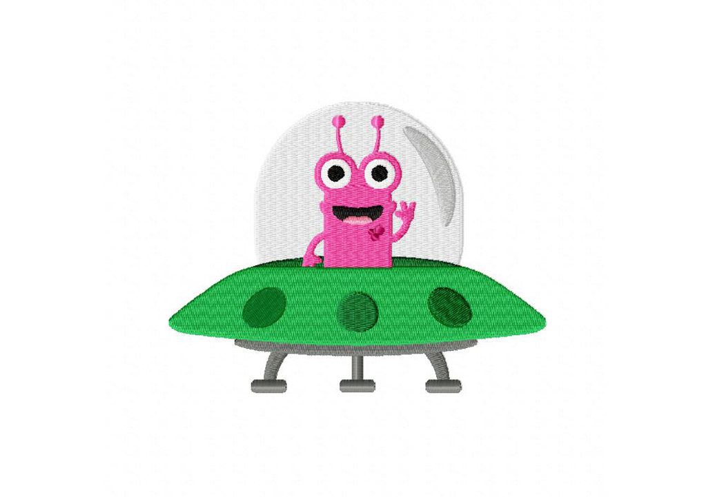 Alien Machine Embroidery File ONLY Out of this world  Space