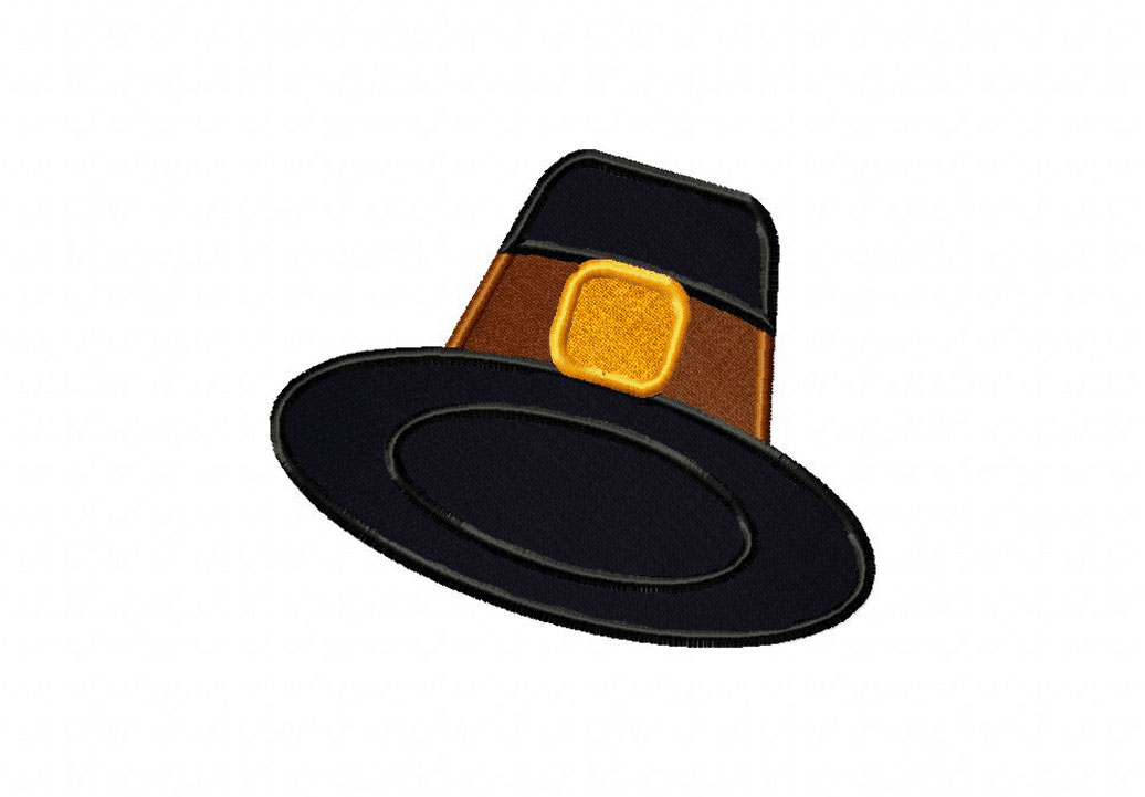 a5796008f9c Black Pilgrim Hat Includes Both Applique and Filled Stitch – Blasto ...