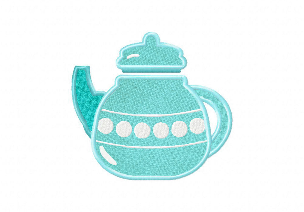 2e58b515930 Bubbly Blue Teapot Includes Both Applique and Filled Stitch