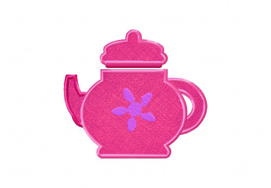 28fcec57ae4 Pretty Pink Teapot Includes Both Applique and Filled Stitch