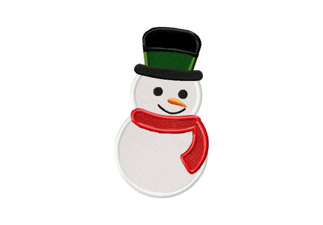 Frosty snowman includes both applique and stitched