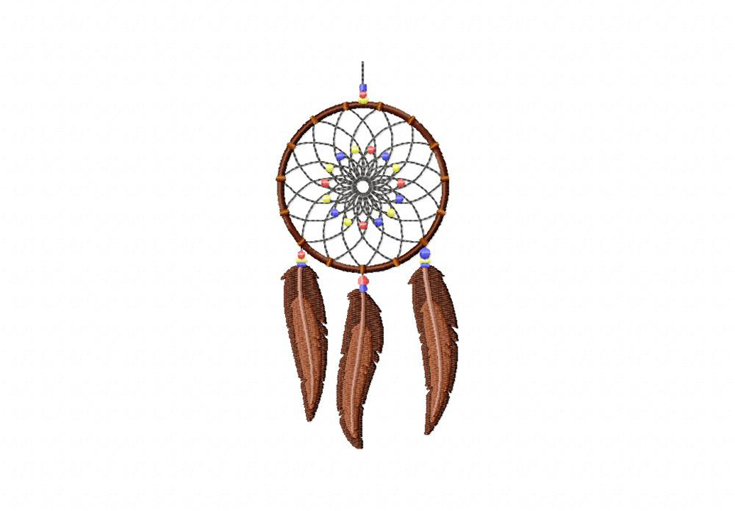 Brown Feather Dream Catcher Machine Embroidery Design