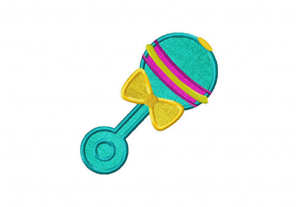 Baby Rattle Includes Both Applique And Stitched