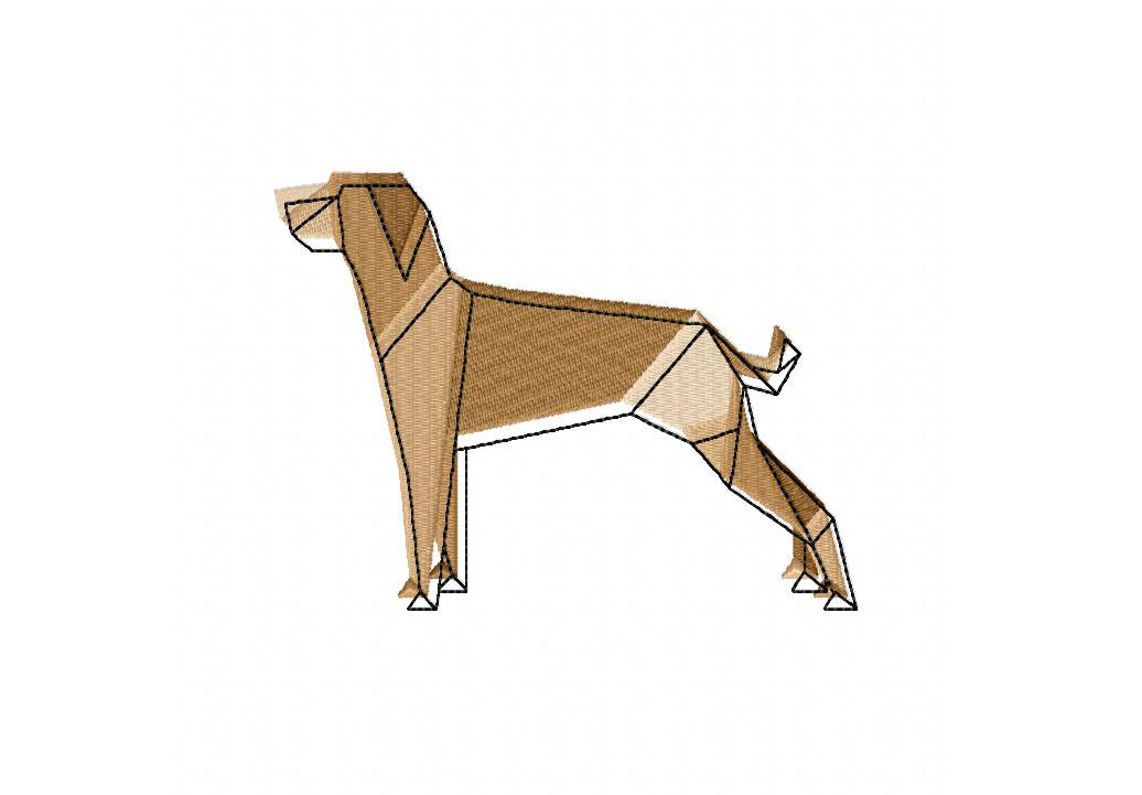 Origami Dog Machine Embroidery Design