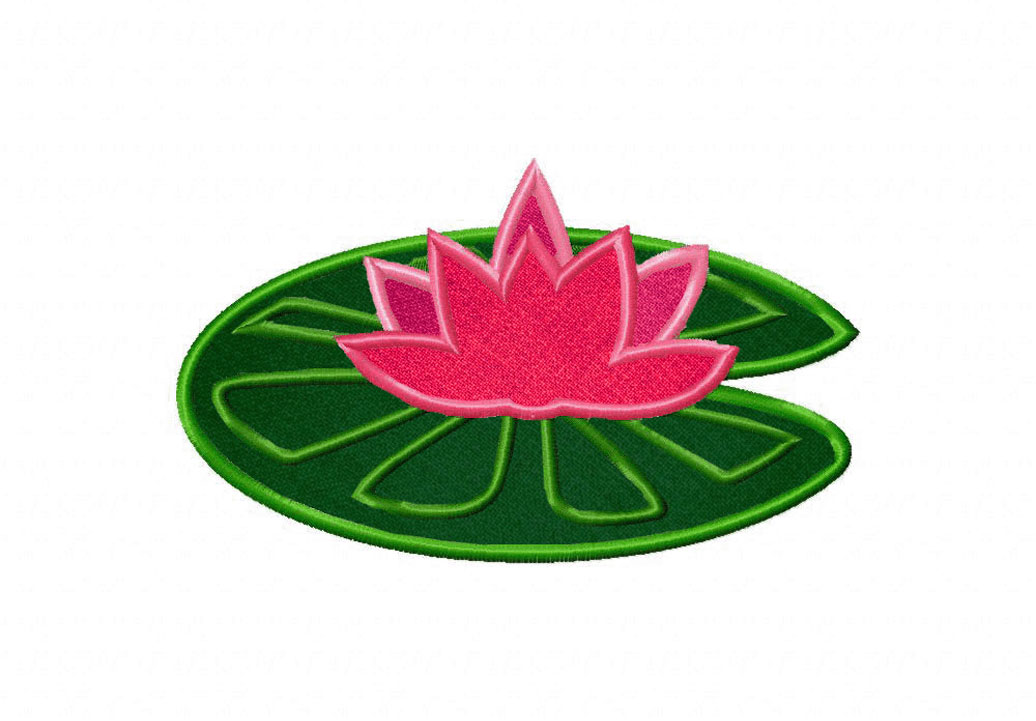 Lotus on Lilypad Includes Both Applique and Stitched