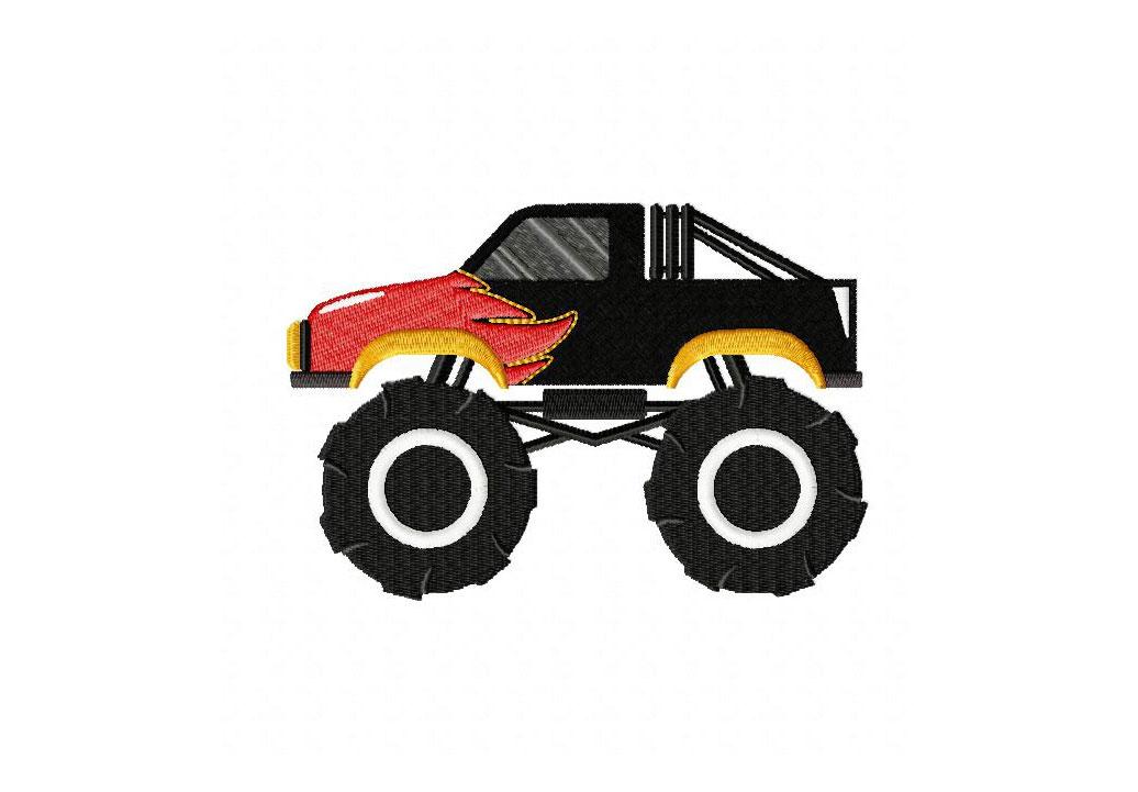 Monster Truck Flames Machine Embroidery Design Blasto Stitch