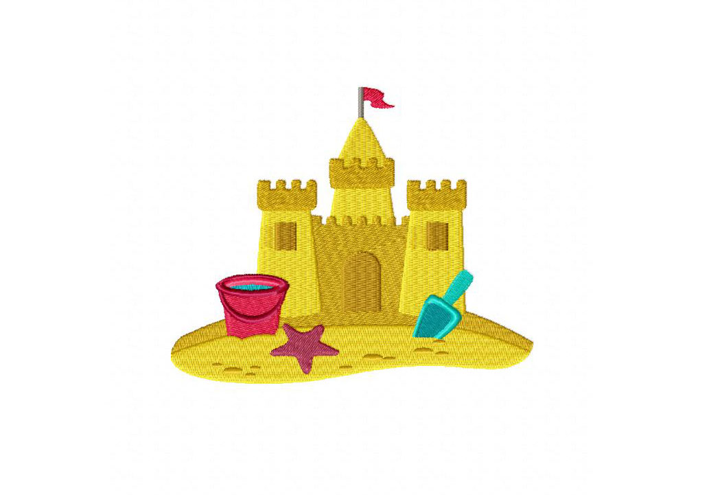 sand castle machine embroidery design