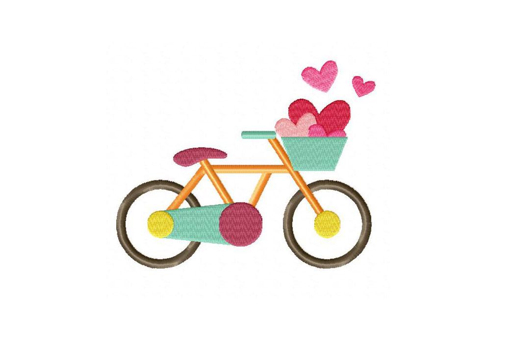 valentine bike machine embroidery design