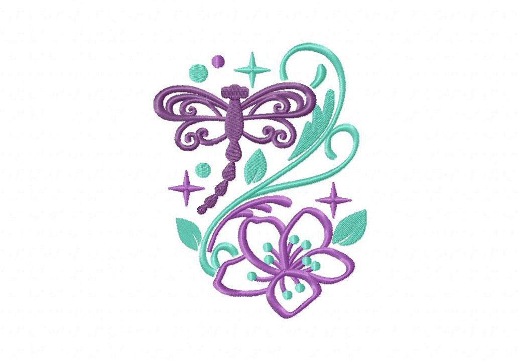 Dragonfly Sparkles Machine Embroidery Design Blasto Stitch