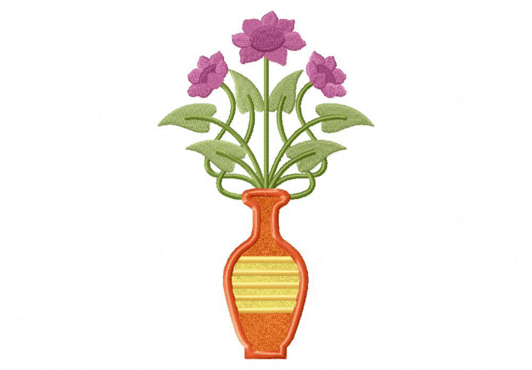 art deco flora vase includes both applique and stitched. Black Bedroom Furniture Sets. Home Design Ideas