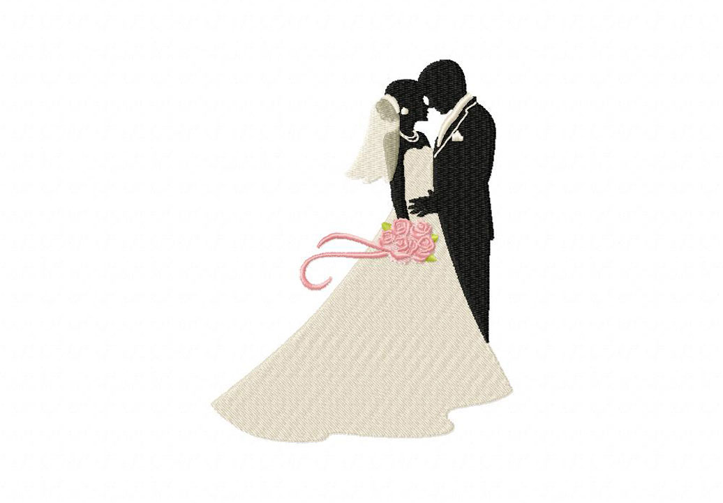 Bride and Groom Embrace Machine Embroidery Design