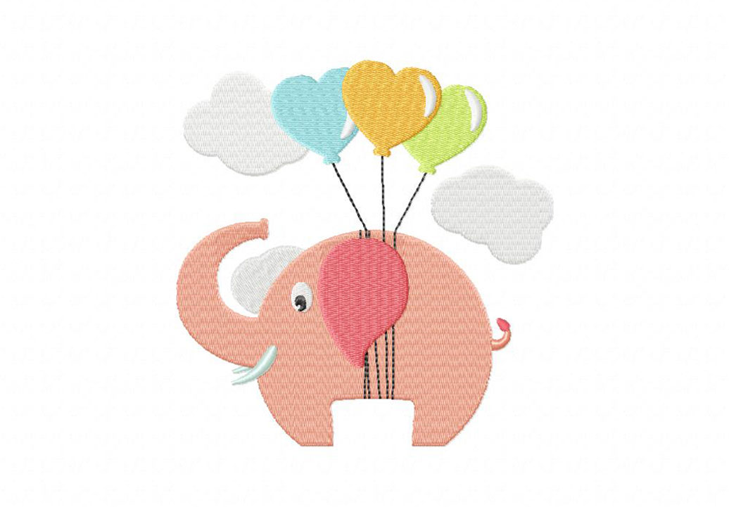 elephant heart balloons machine embroidery design