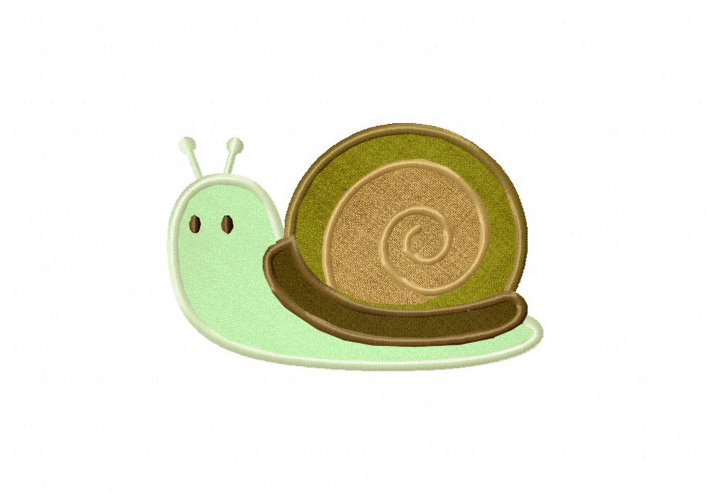 cute snail includes both applique and stitched