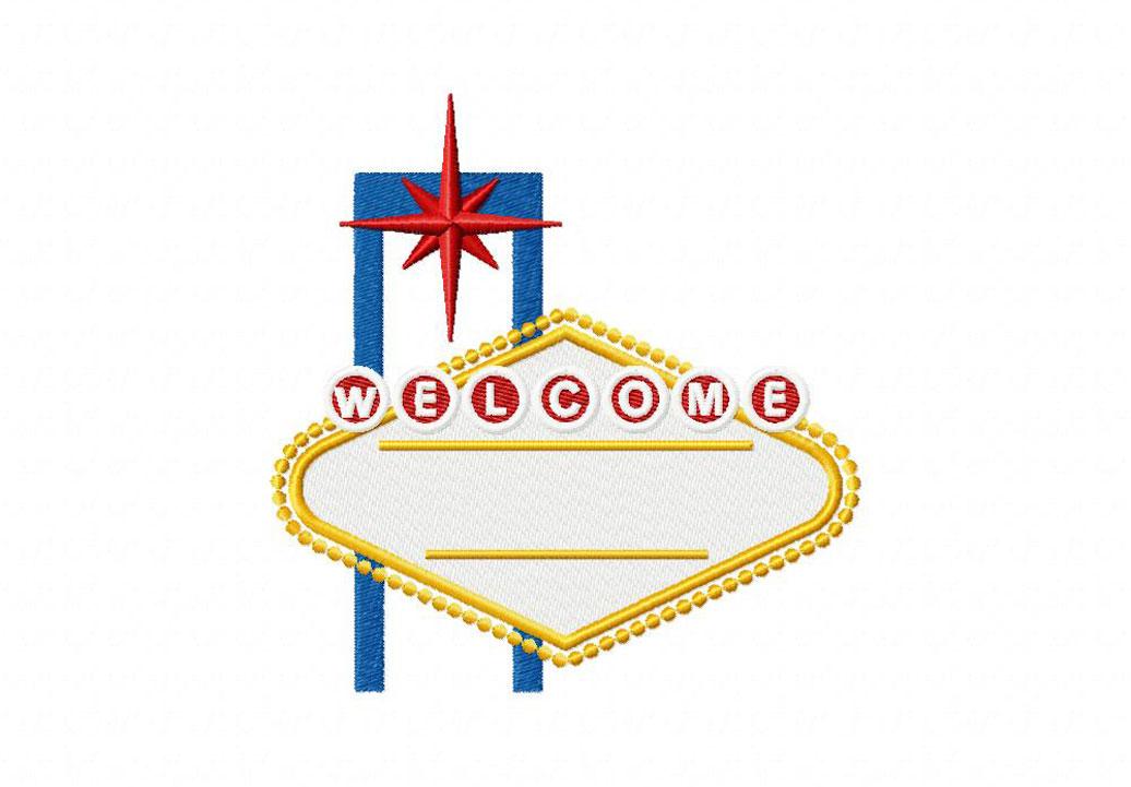 Vegas Sign Machine Embroidery Design Blasto Stitch