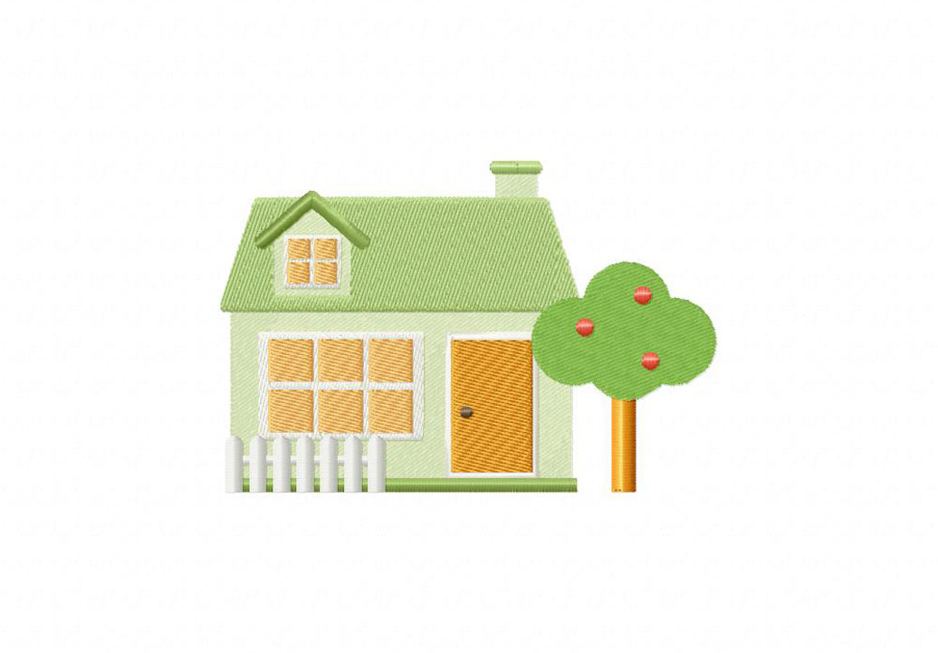 Home / Picket Fence House Machine Embroidery Design. Sale!