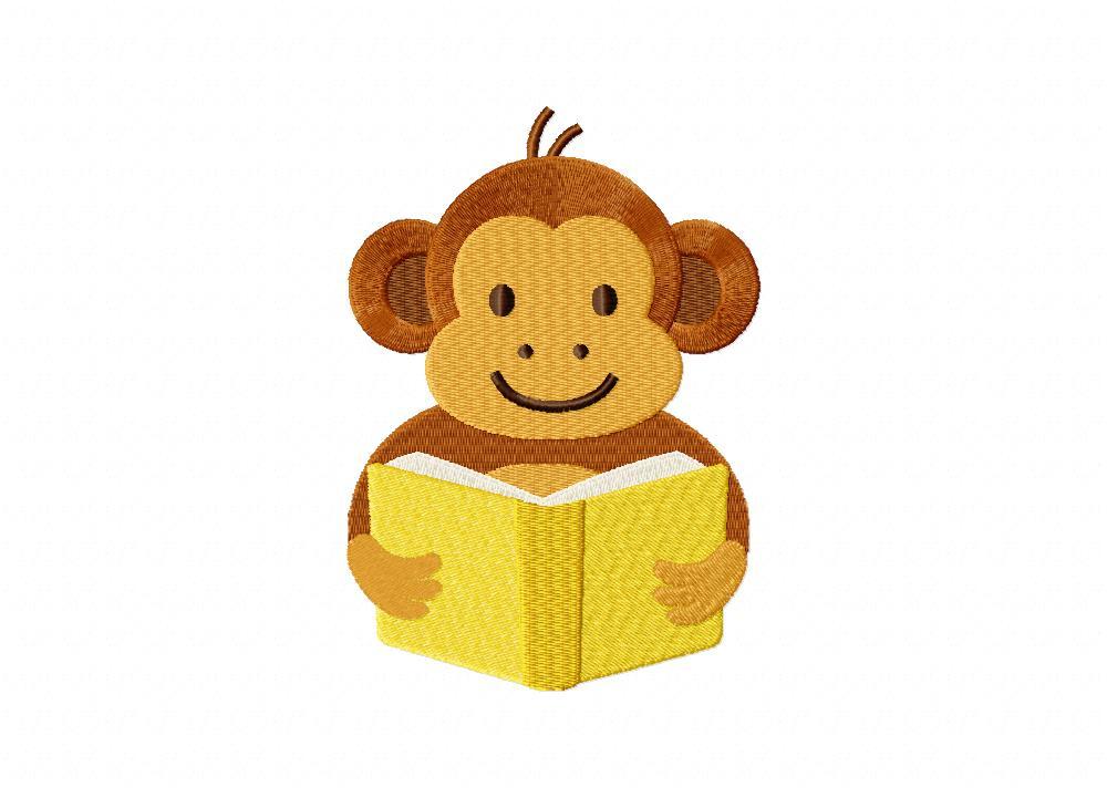 Reading Monkey Machine Embroidery Design