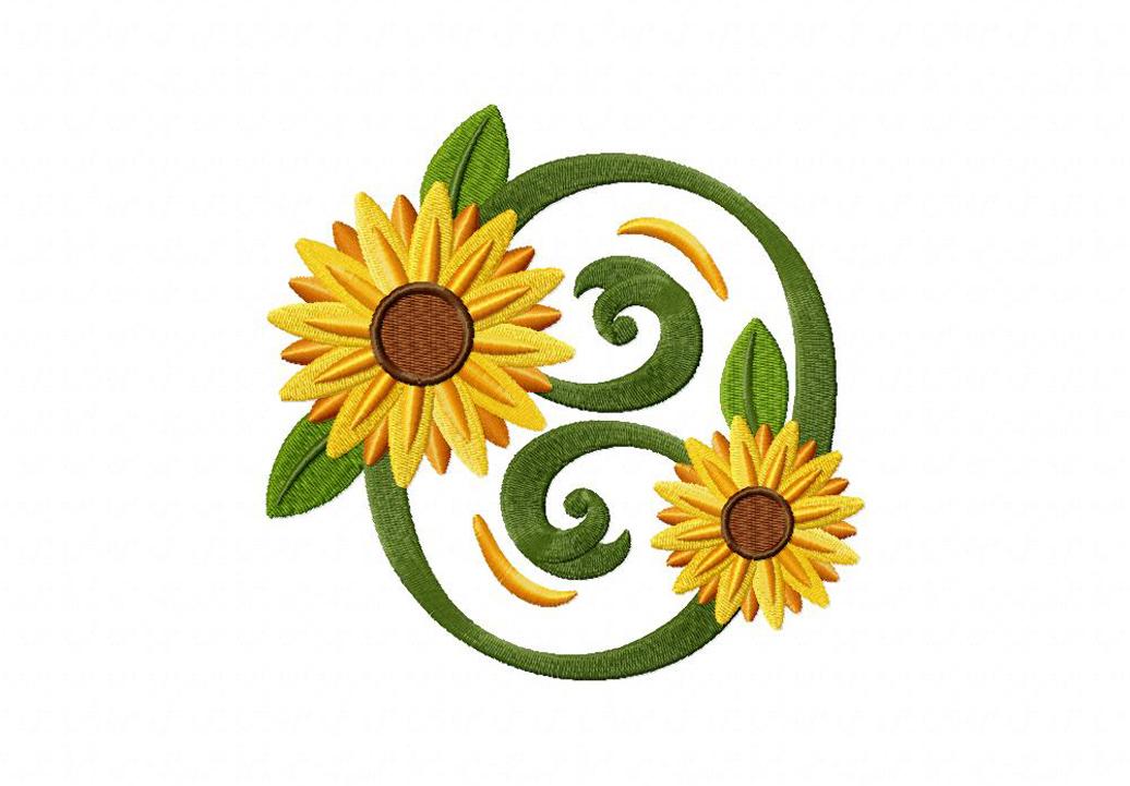 classic sunflower circle machine embroidery design