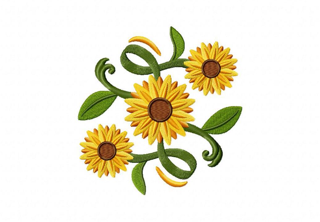 classic sunflower square machine embroidery design