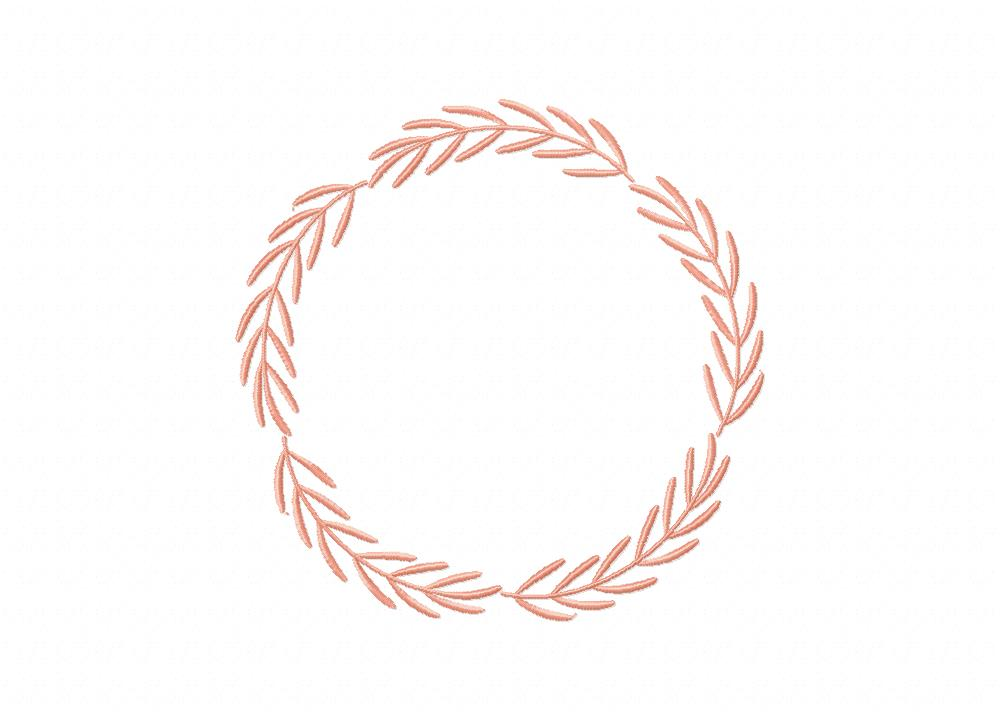 Simple Peach Wreath Machine Embroidery Design Blasto Stitch