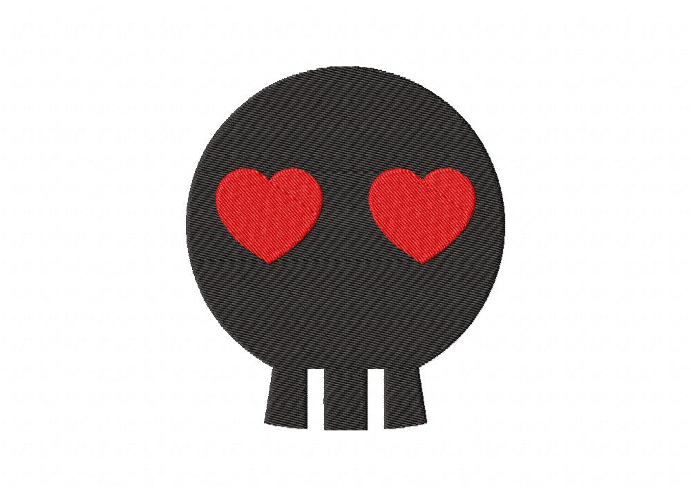 01ceb599c85 Black Skull with Red Heart Eye Machine Embroidery Design