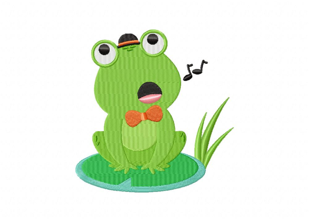 Singing Frog In Orange Bow Tie Machine Embroidery Design