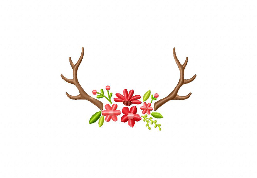 Machine Embroidery Design Deer With Antlers