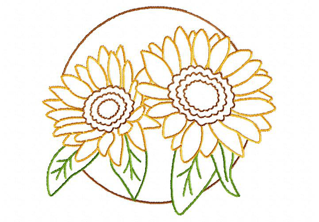 Sunflower Circle Machine Embroidery Design