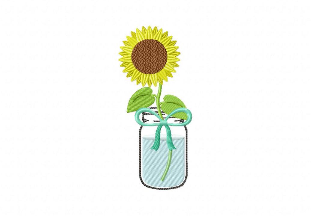 Mason Jar Sunflower Machine Embroidery Design