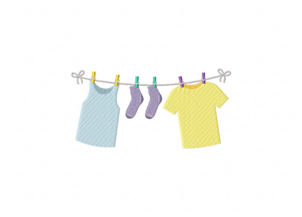 Hanging Laundry Machine Embroidery Design