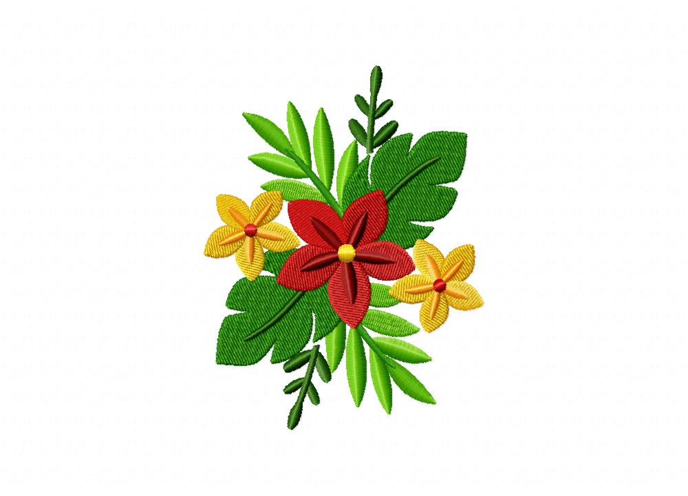 Hawaiian Floral Bouquet Machine Embroidery Design – Blasto ...