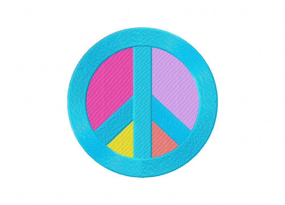 Colorful Peace Sign Machine Embroidery Design Blasto Stitch