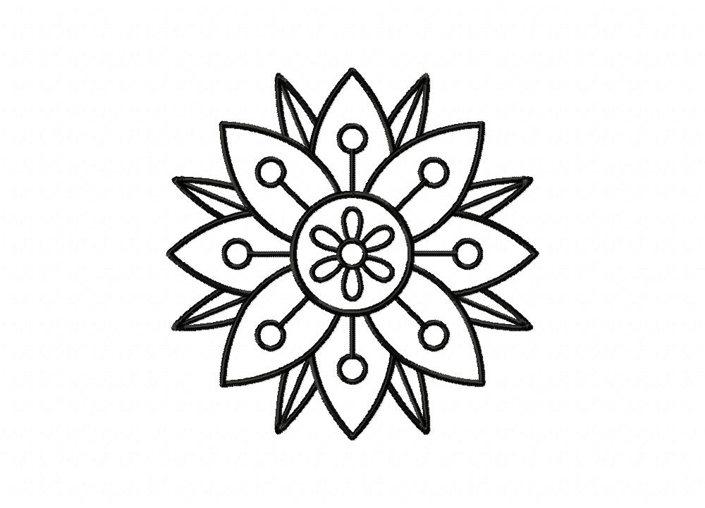 Layered Flower Doodle Outline Machine Embroidery Design