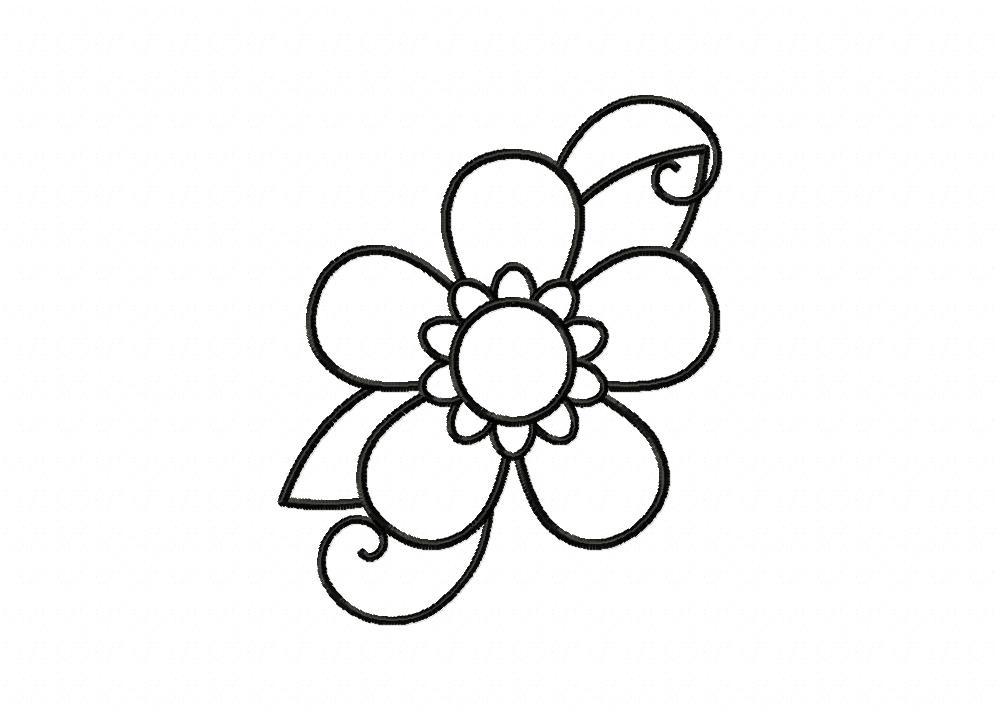 five petal flower doodle outline machine embroidery design blasto